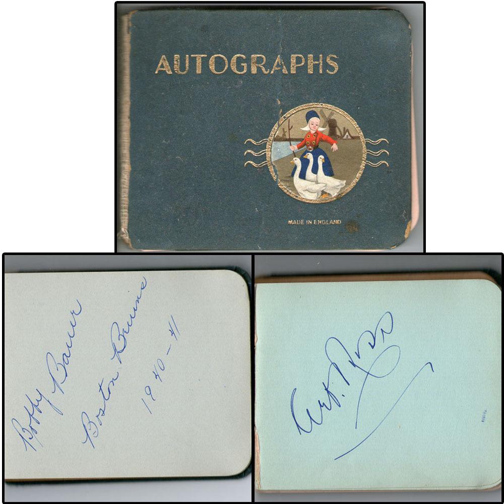 1939-40 Boston Bruins Autograph Book - 21 Signatures Including Art Ross & Bobby Bauer