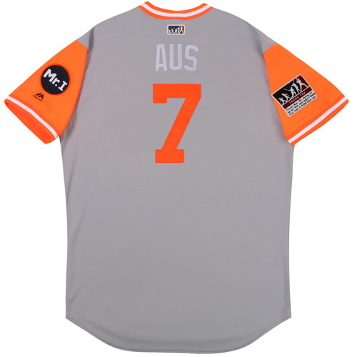 """Photo of Brad """"Aus"""" Ausmus Detroit Tigers Game-Used Players Weekend Jersey"""