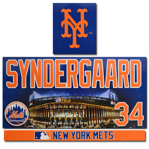 Noah Syndergaard #34 - Game Used Locker Nameplate Set - 2017 Season
