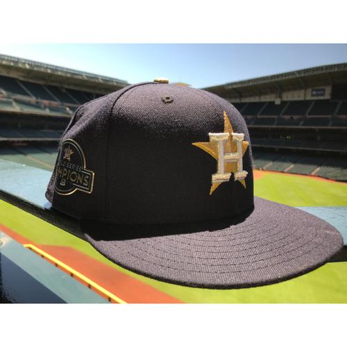 Photo of Javier Bracamonte Game-Used World Series Champions Gold Hat - 4/2/18
