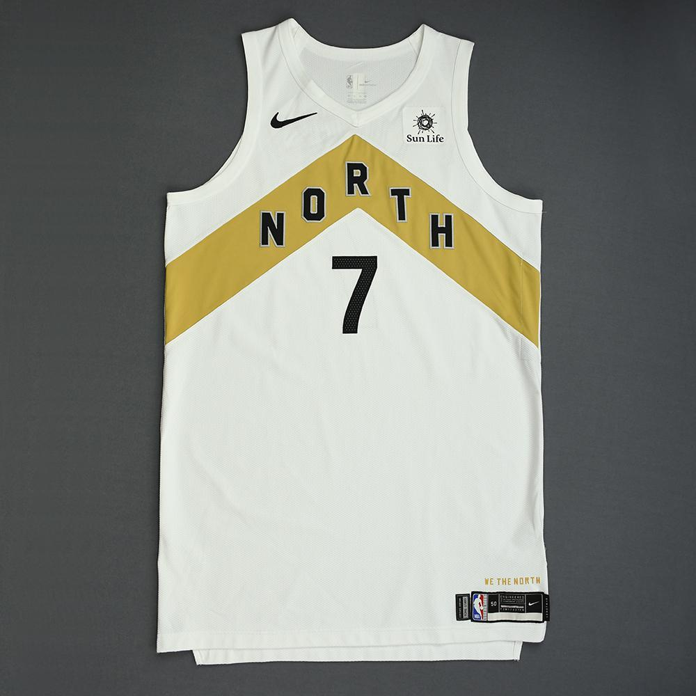 Kyle Lowry - Toronto Raptors - 2018-19 Season - Game-Worn White City Edition Jersey - Worn 3 Games - Recorded a Double-Double