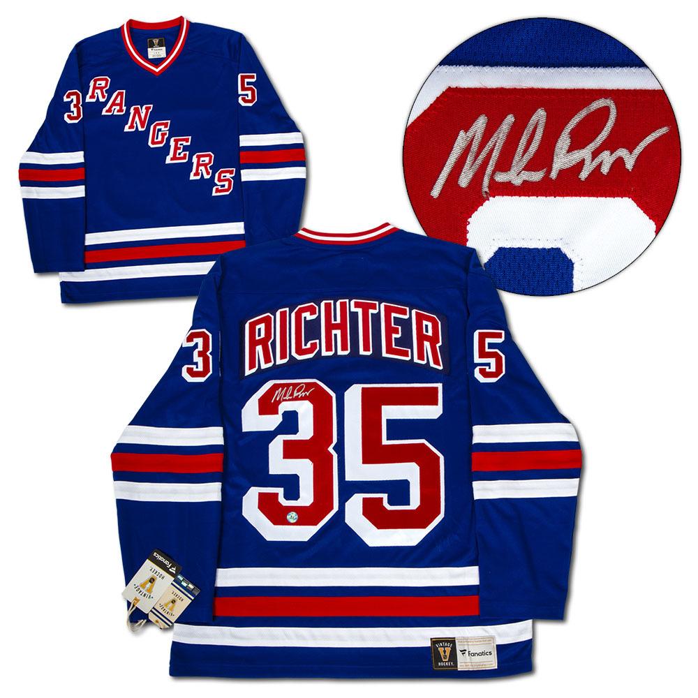 Mike Richter New York Rangers Autographed Blue Fanatics Vintage Hockey Jersey