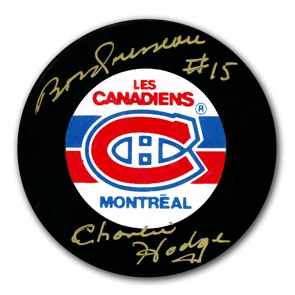Bobby Rousseau & Charlie Hodge Montreal Canadiens Autographed Puck