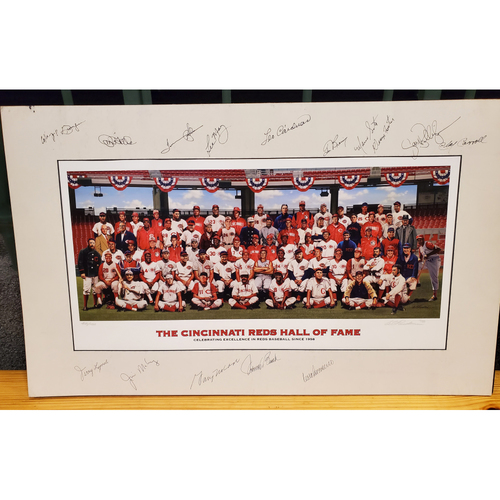 15-Signature Reds Hall of Fame Inductee Purdom Matted Print - 17.5