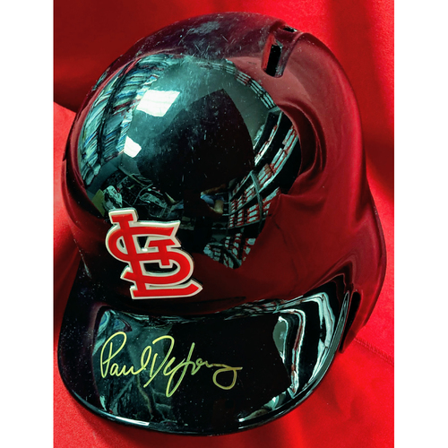 Photo of Paul DeJong Autographed Team-Issued 2019 Postseason Navy Batting Helmet