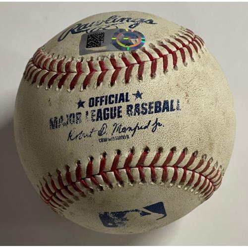 Photo of Game-Used Baseball - Aaron Judge Strikeout vs. Carlos Carrasco Baseball - 9/30/2020 - Yankees at Indians