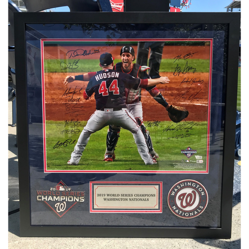 Photo of Washington Nationals 2019 World Series Champions Autographed Last Out Photograph with 16 Signatures