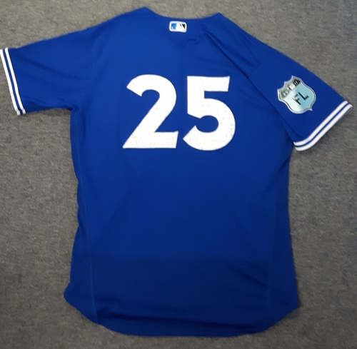 Authenticated Game Used Spring Training Jersey (March 22, 2017 vs Detroit Tigers) - #25 Marco Estrada. Estrada had 5 IP with 2 Hits, 1 ER, and 5 Strikeouts.