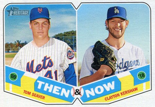 Photo of 2018 Topps Heritage Then and Now #TN1 Tom Seaver/Clayton Kershaw