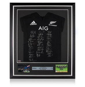 Photo of New Zealand 2017 Squad Signed and Framed Rugby Shirt
