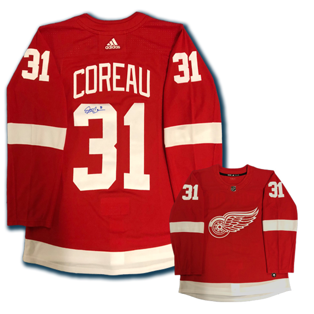 JARED COREAU Signed Detroit Red Wings Red Adidas PRO Jersey
