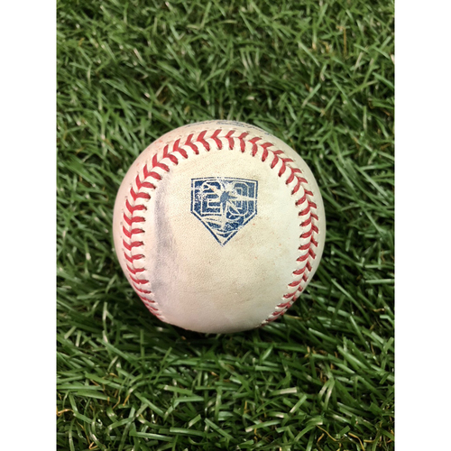 Photo of 20th Anniversary Game Used Baseball: Chih-Wei Hu strikes out Giancarlo Stanton - July 24, 2018 v NYY