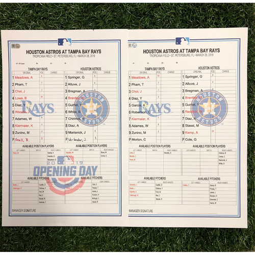 Photo of Replica LineUp Cards: March 28-31, 2019 v HOU - OPENING WEEKEND SERIES