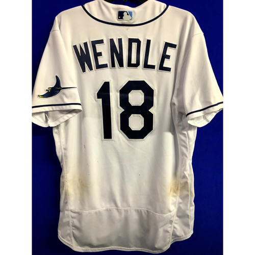 Photo of Game Used ALCS Game #7 Home White Jersey: Joey Wendle - October 17, 2020 v HOU