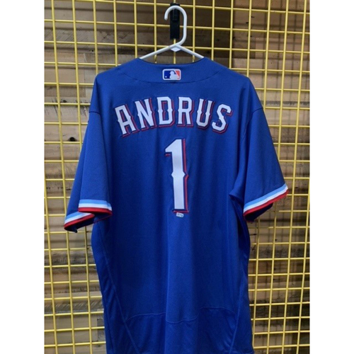 Photo of Team-Issued Elvis Andrus Blue Jersey