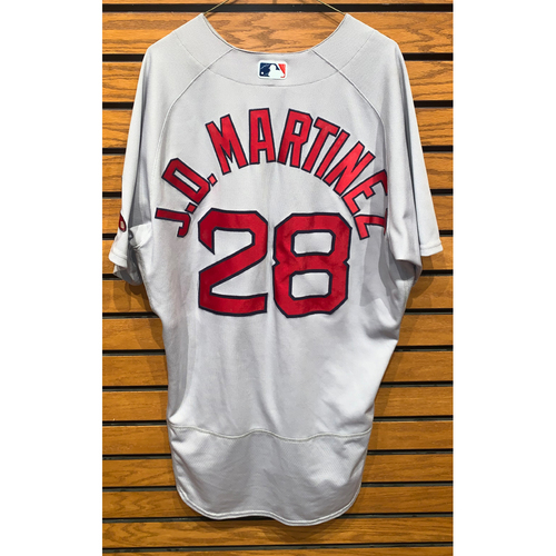 Photo of JD Martinez June 18, 2021 Game Used Road Jersey - 1 for 4, RBI
