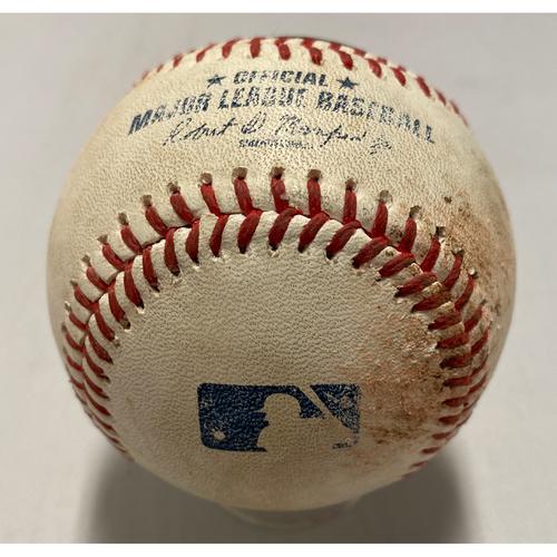 Photo of 2021 Game Used Baseball used on 8/11 vs. ARI - B-2: Kelly to Gausman - RBI Single to CF (Yastrzemski Scores)