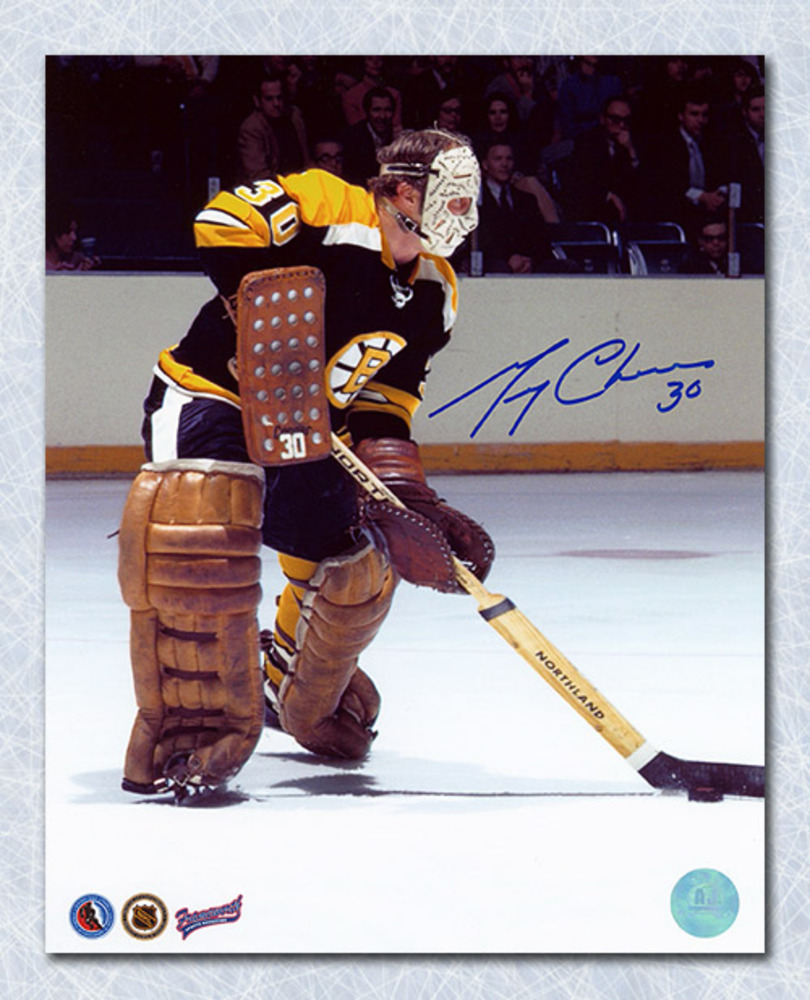 Gerry Cheevers Boston Bruins Autographed Playing the Puck 8x10 Photo