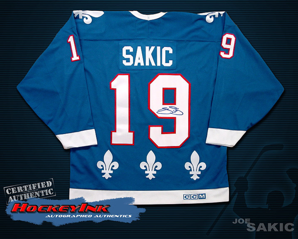 the best attitude 837e0 2fa43 JOE SAKIC Signed Quebec Nordiques Retro Jersey - Colorado ...