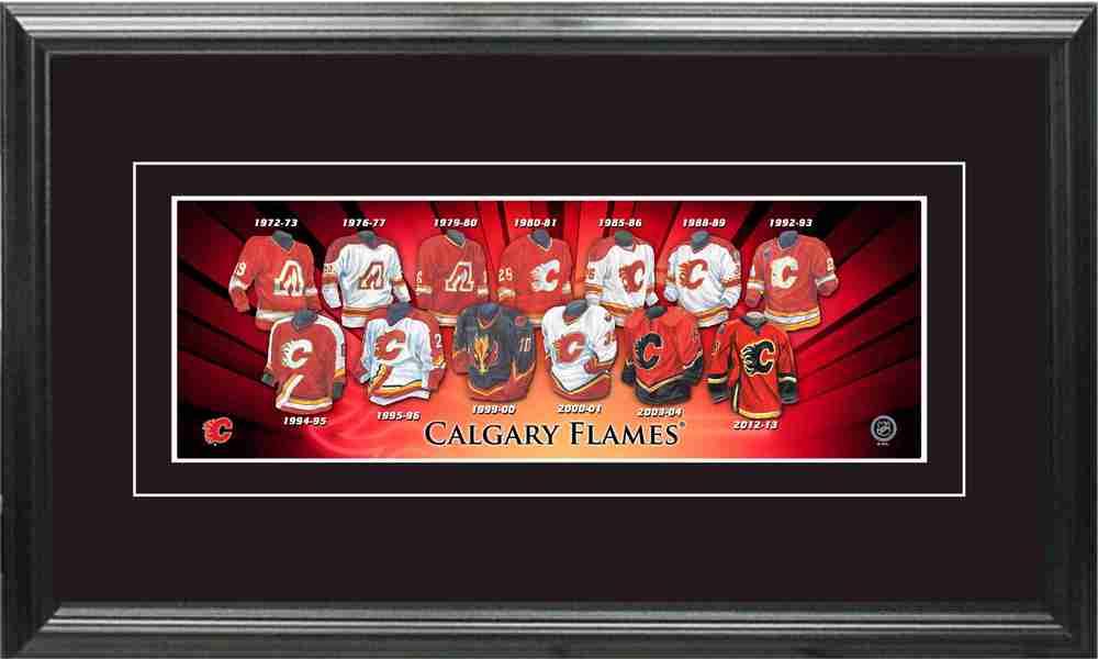 Calgary Flames - Framed Mini Jersey Evolution Print