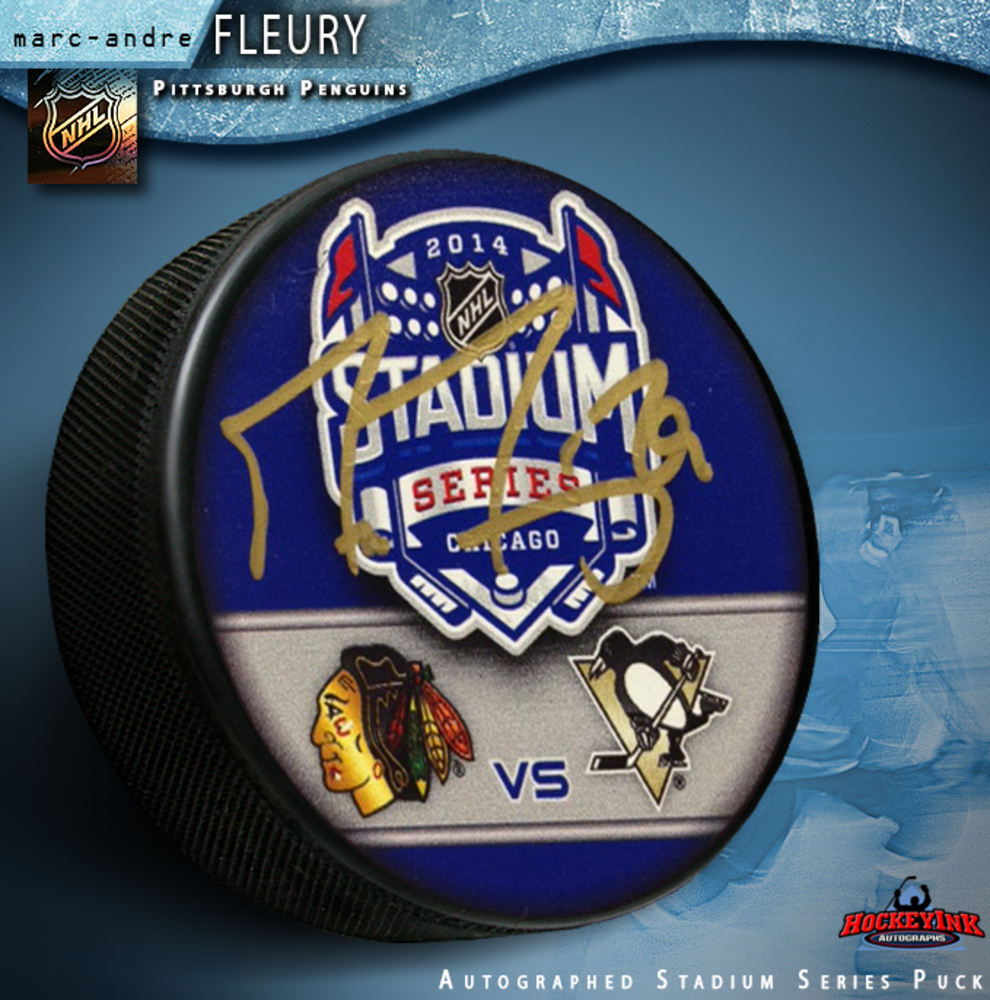 MARC ANDRE FLEURY Signed 2014 NHL Stadium Series Pittsburgh Penguins Puck
