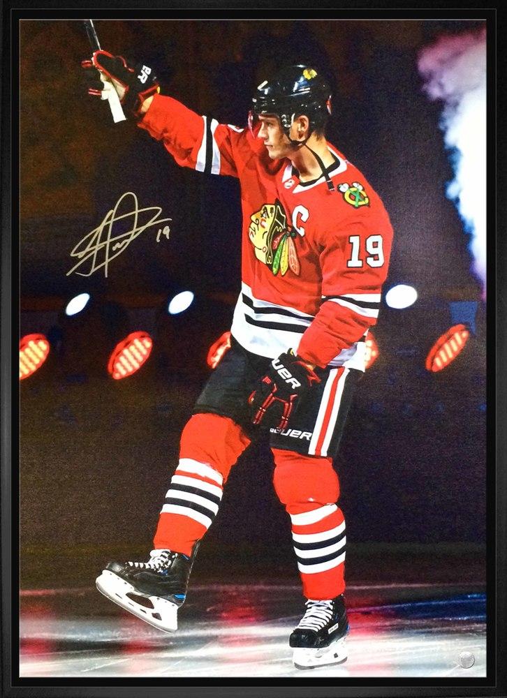Jonathan Toews - Signed 20x29 Framed Canvas Blackhawks Stick Salute
