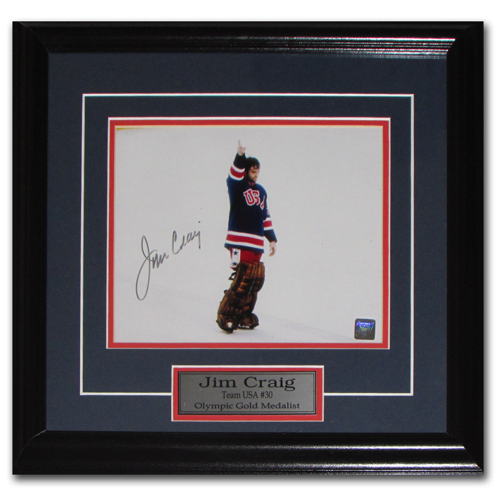 Jim Craig Autographed Team USA 1980 Framed 8X10 Photo
