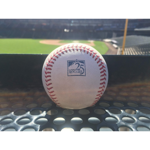 Photo of Colorado Rockies Game-Used Baseball - Senzatela v. Belt - Single to Blackmon - September 5, 2018