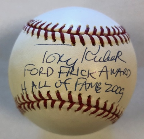 "Photo of Tony Kubek ""Ford Frick Award Hall of Fame 2009"" Autographed Baseball"