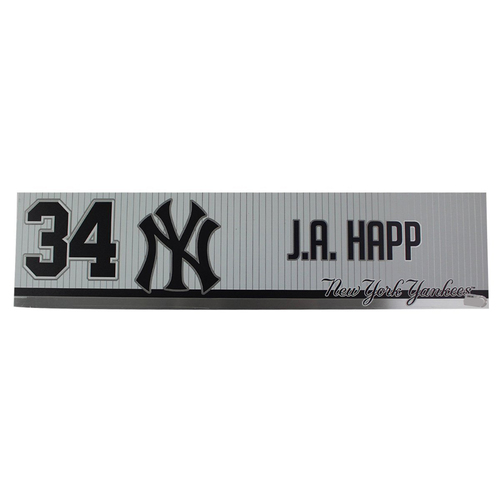 Photo of J.A. Happ New York Yankees 2019 Game Used #34 Locker Room Nameplate (4/3/2019)