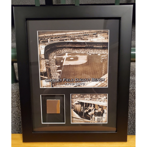 Photo of Framed Piece of Crosley Field Dugout Bench (Number 46 of 150)