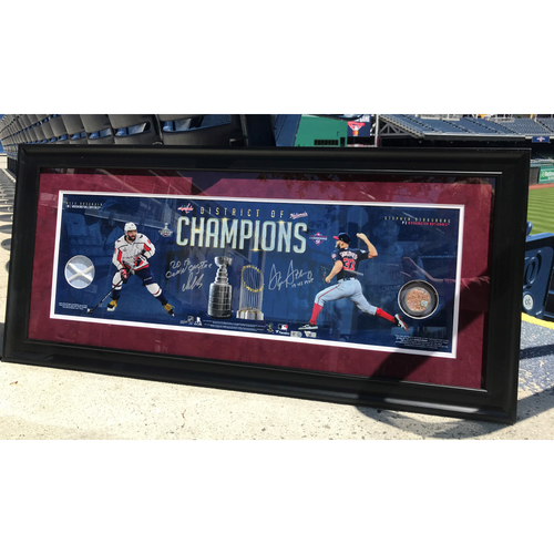 Photo of Stephen Strasburg & Alex Ovechkin Framed Autographed District Of Champions Panoramic Photograph