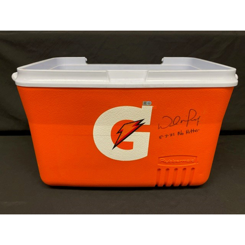 Photo of Wade Miley No-Hitter - *Game-Used, Autographed & Inscribed* Gatorade Cooler Used in Post-Game Celebration - 05/07/2021 - CIN @ CLE -  Inscribed 5-7-21 No Hitter