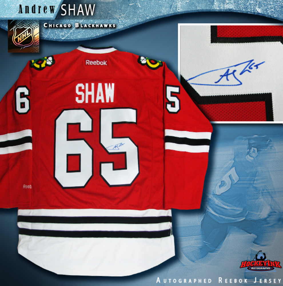 ANDREW SHAW Signed Chicago Blackhawks Red Reebok Jersey