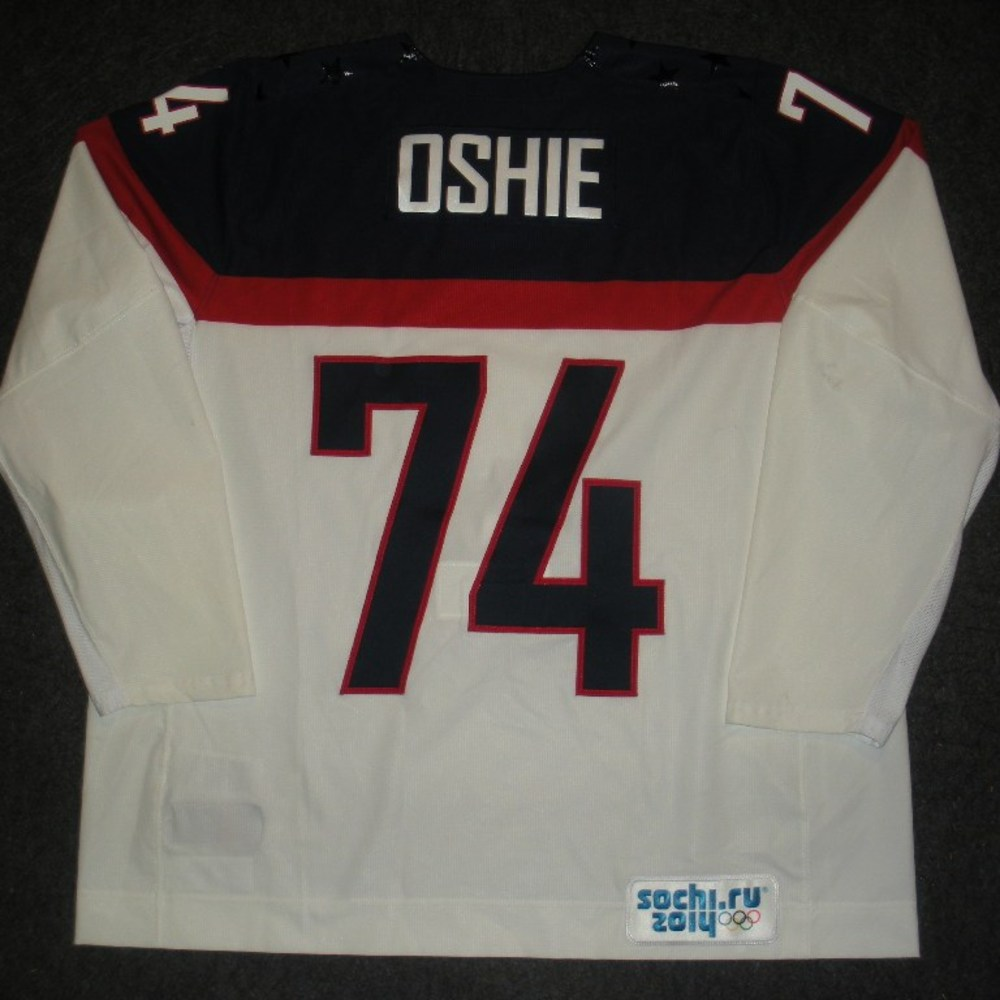 T.J. Oshie - Sochi 2014 - Winter Olympic Games - Team USA White Game-Worn Jersey - Worn in 2nd and 3rd Periods vs. Slovakia, 2/13/14