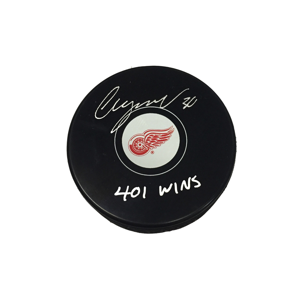 CHRIS OSGOOD Signed Detroit Red Wings Puck with