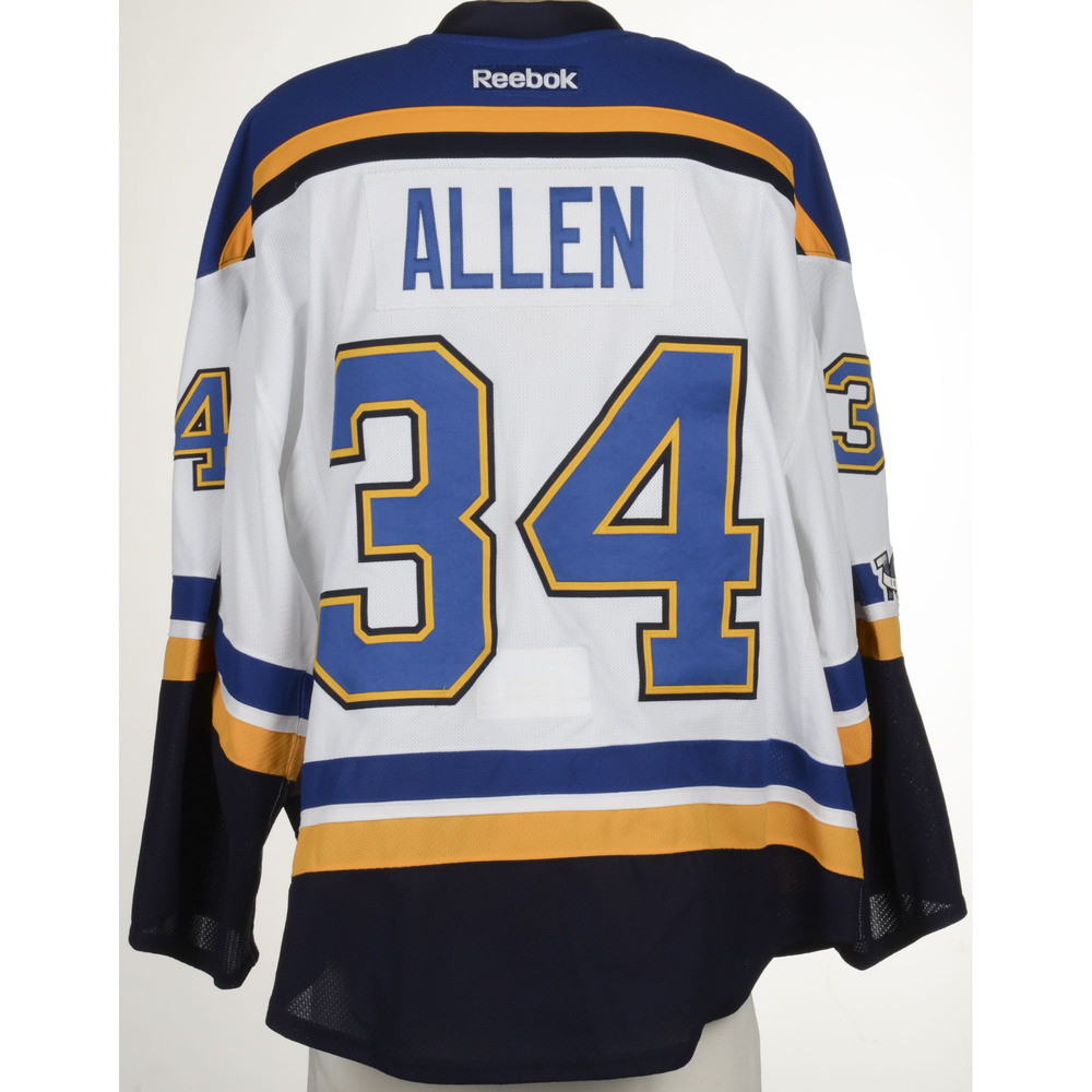 size 40 239d4 99763 Jake Allen St. Louis Blues Game-Used Away Set 4 Jersey ...