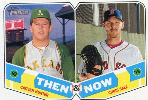 Photo of 2018 Topps Heritage Then and Now #TN15 Chris Sale/Catfish Hunter