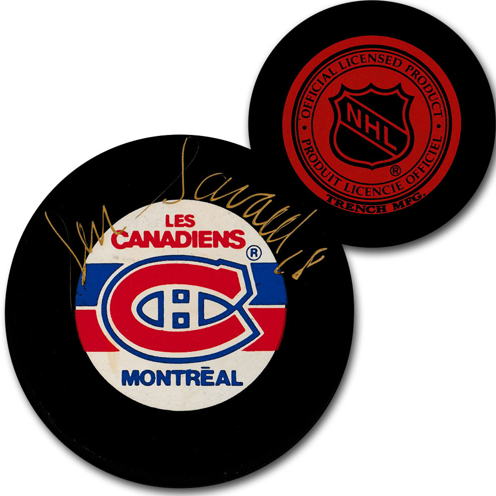 Serge Savard Autographed Montreal Canadiens Vintage Trench Puck