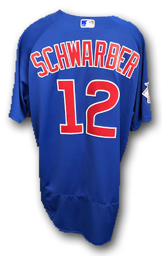 Photo of Kyle Schwarber Game-Used Jersey -- Cubs at Cardinals -- 9/28/17 -- Size 50