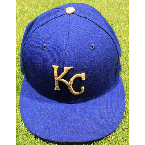 Photo of Game-Used 2019 Gold Cap: Mike Montgomery #21 (MIN @ KC 9/27/19)
