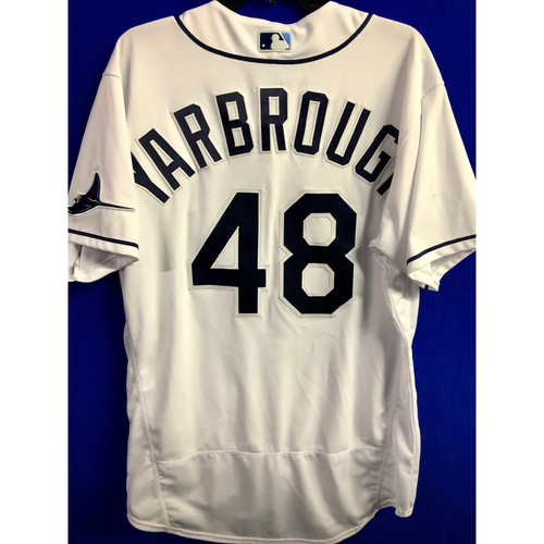 Photo of Game Used ALCS Game #7 Home White Jersey: Ryan Yarbrough - October 17, 2020 v HOU