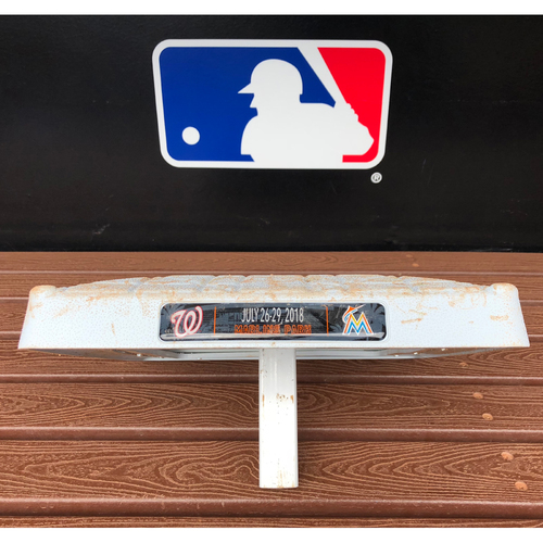 Photo of Game-Used Base: Marlins vs Nationals (July 27, 2018)  - Max Scherzer 2018 200th Strikeout Game - 1st Base, 1st-3rd Innings