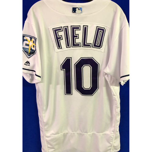 Photo of 20th Anniversary Game Used Tampa Bay Devil Rays Jersey: Johnny Field (1-1) - June 23, 2018 v NYY
