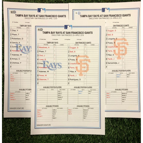 Photo of Replica LineUp Cards: April 5-7, 2019 at SF