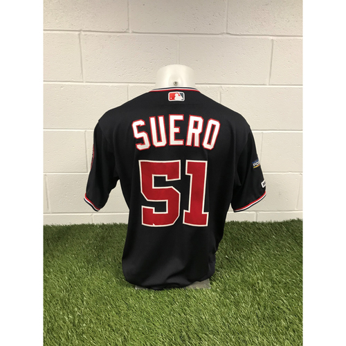 Photo of Game-Used Wander Suero 2019 Navy Script Jersey with Postseason Patch
