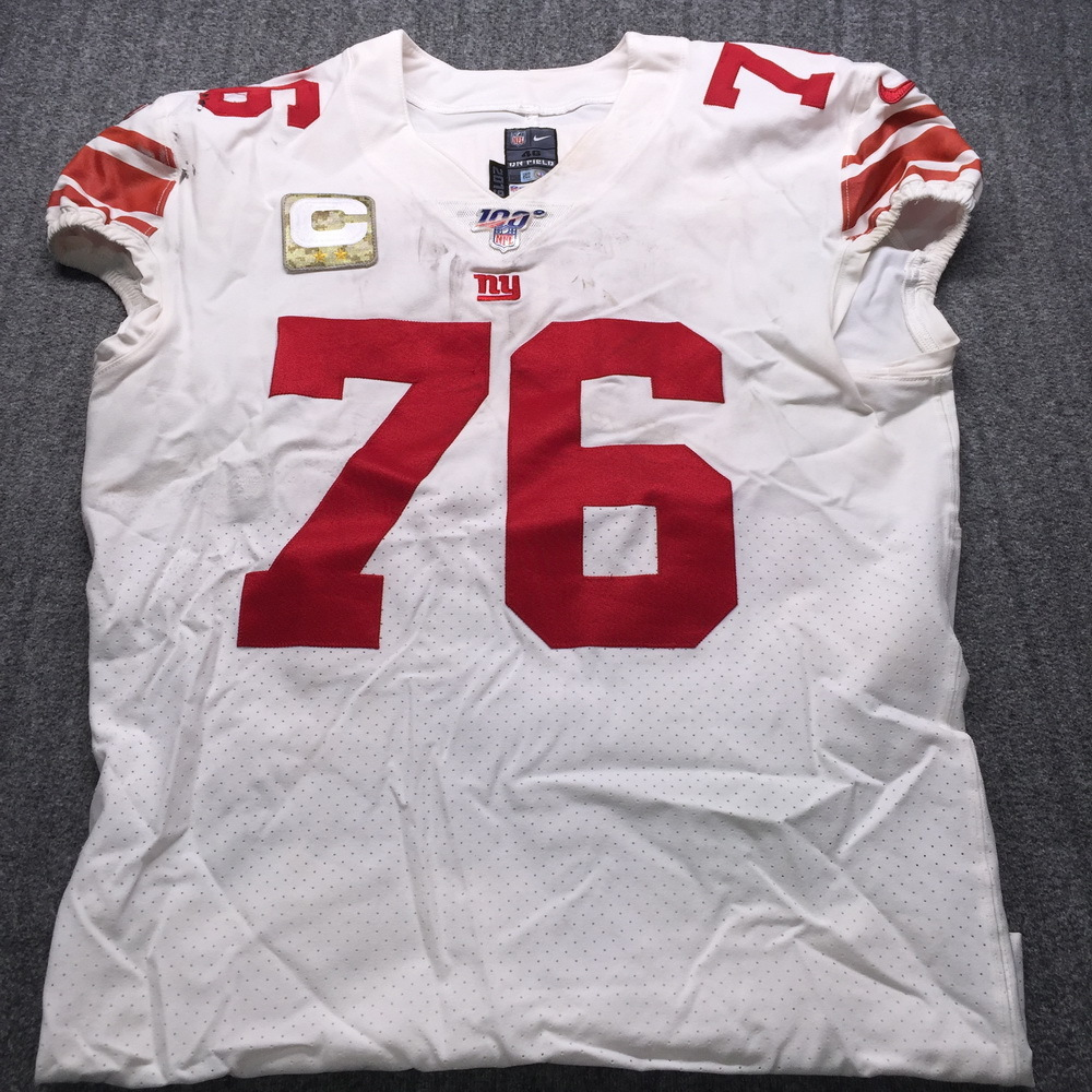 STS - Giants Nate Solder Game Used Jersey (11/10/19) Size 46 with Captains Patch