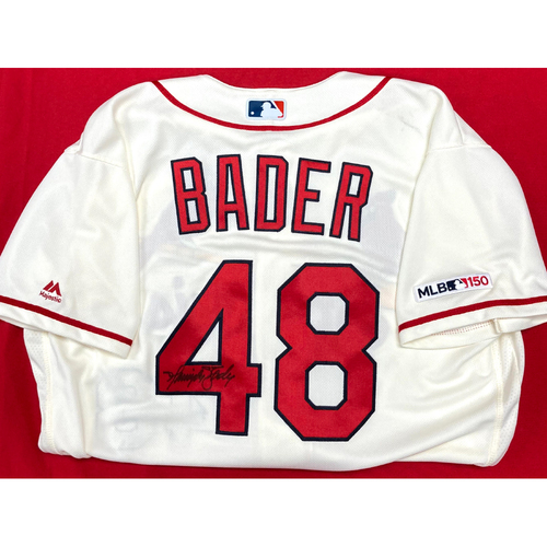 Photo of Harrison Bader Autographed Team-Issued Home Alternate Jersey (Size 46)