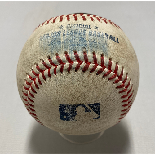Photo of 2021 Game Used Baseball used on 8/12 vs. COL - T-4: Webb to McMahon - Strike Out Swinging