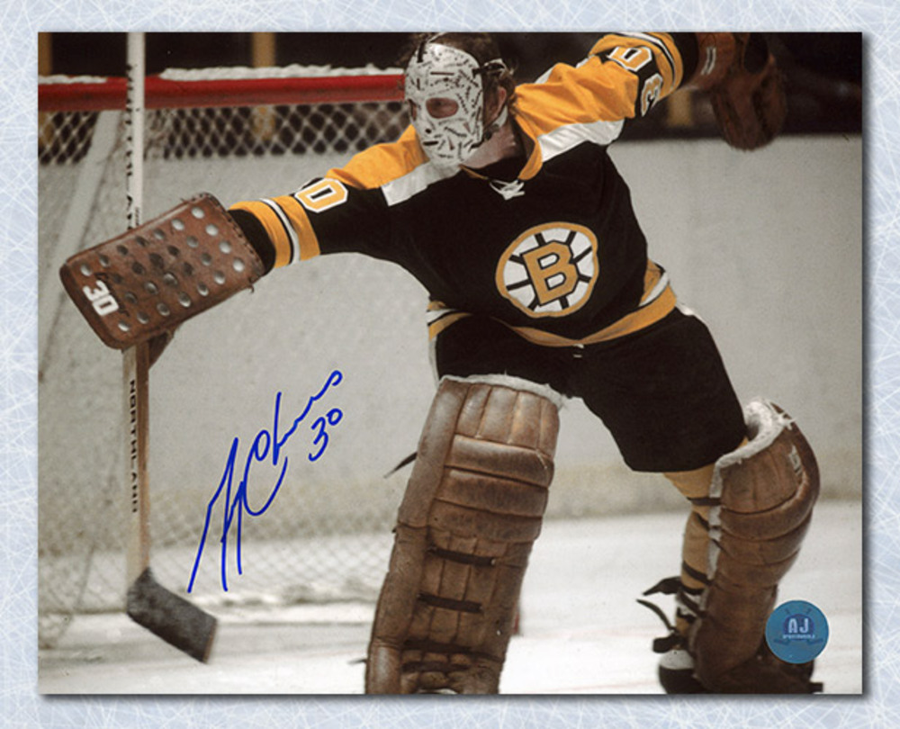 Gerry Cheevers Boston Bruins Autographed Goalie Action 8x10 Photo